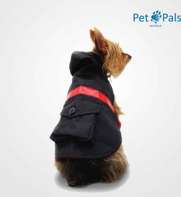 Impermeable negro con reflejante para perro