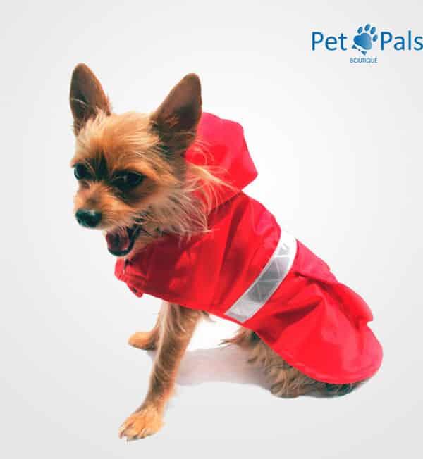 Impermeable rojo con reflejante para perros
