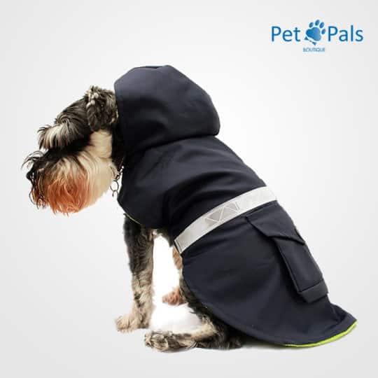 Impermeable azul con reflejante para perro