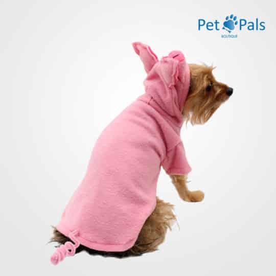 Disfraz de puerquito para perro espalda