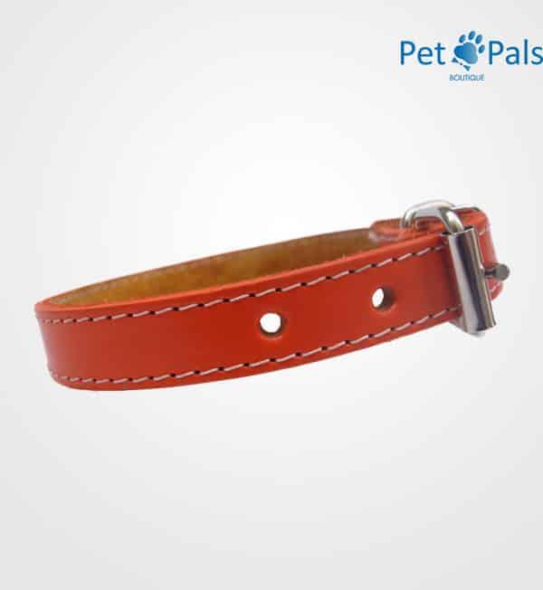 Collar de piel naranja para perro