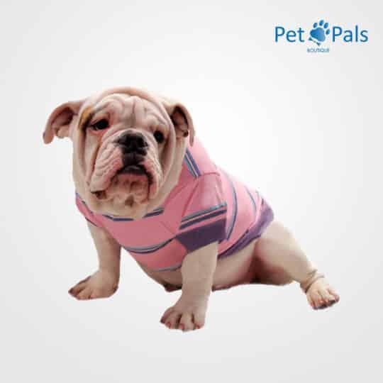 Playera rosa para perro rayada