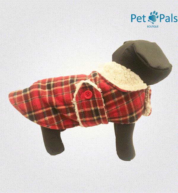 Capa con borrega para perro roja