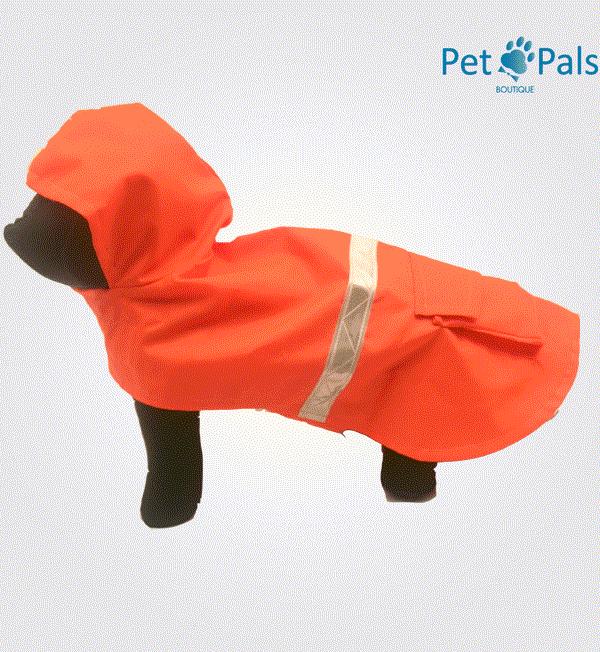Impermeable naranja para perro
