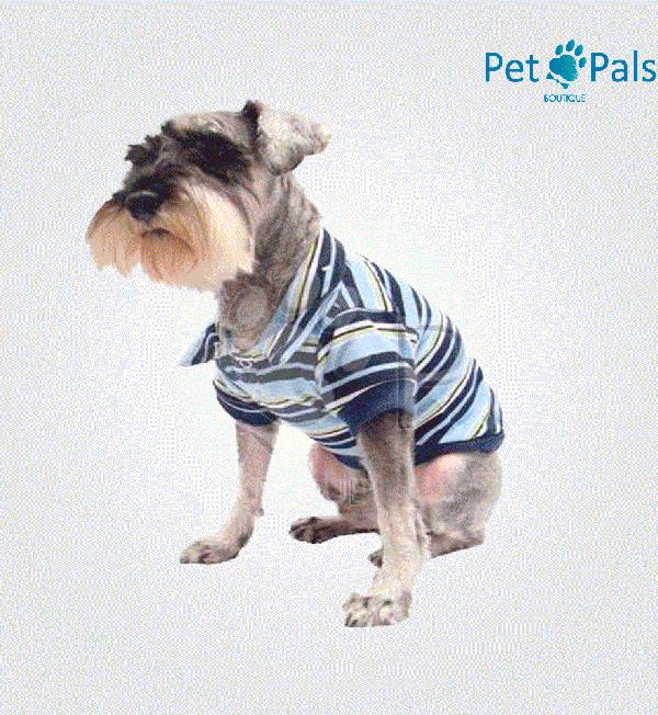 Playera de rayas azul para perro