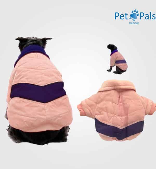Chamarra puffer para perro rosa claro