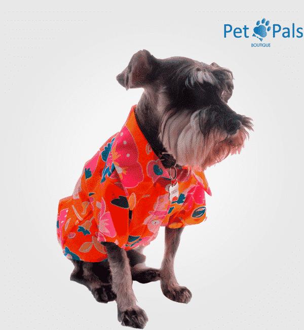 Camisa Hawaiana Naranja para perro