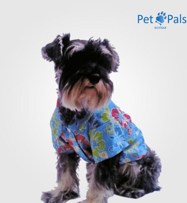 Camisa hawaiana azul para perro