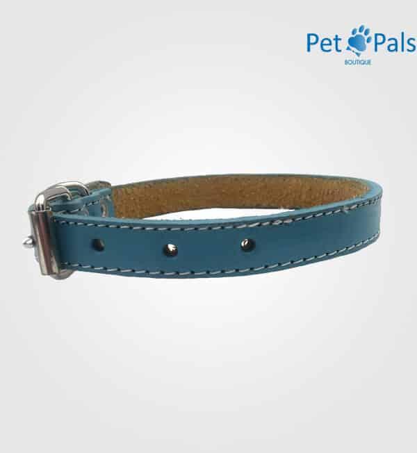 Collar para perro de cuero azul