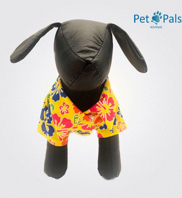 Camisa hawaiana amarilla para perro 2