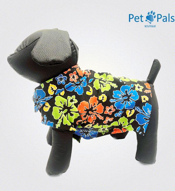 Camisa Hawaiana negra para perro