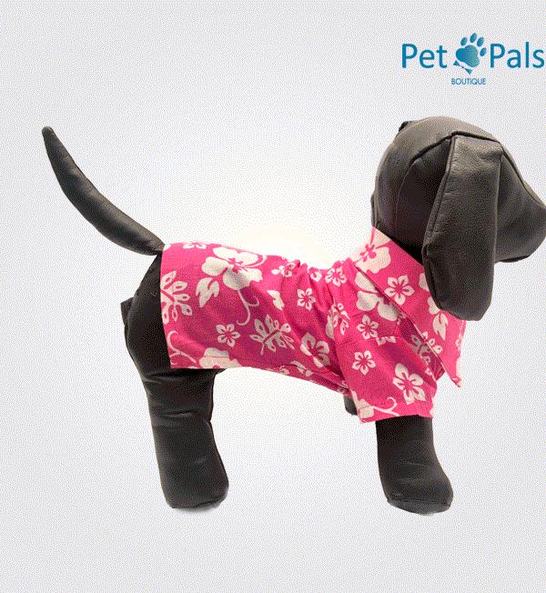 Camisa hawaiana rosa para perro