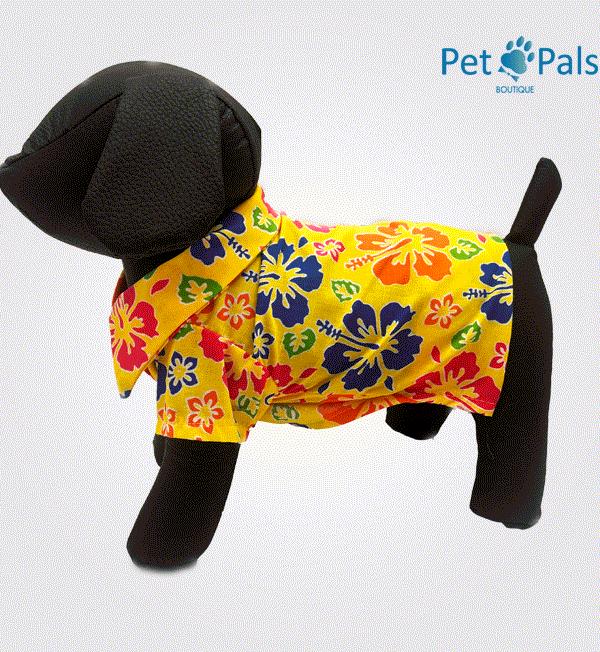 Camisa hawaiana amarilla para perro