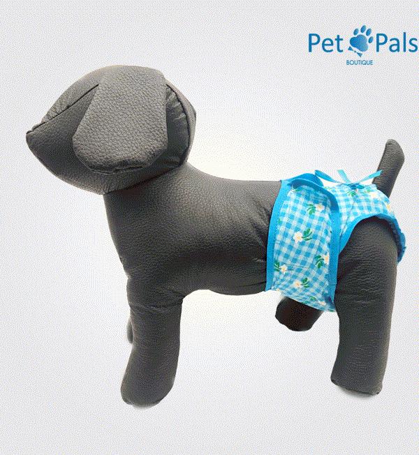 Pañal para perrita azul