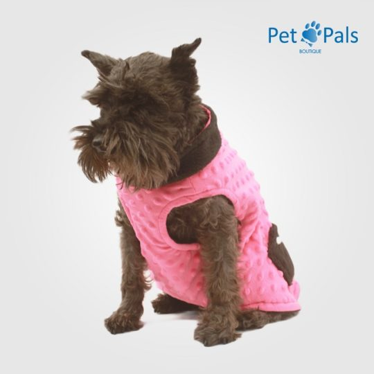 Chaleco para perro rosa fru fru frente