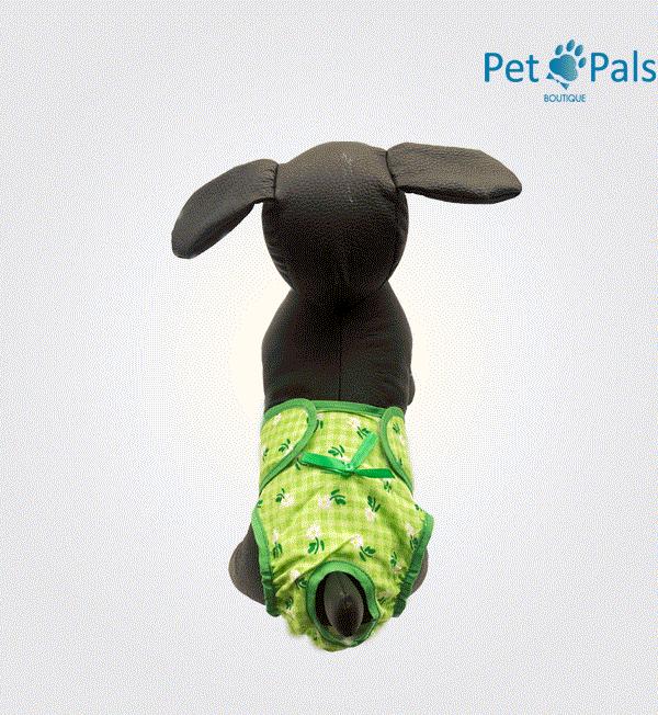 pañal para perrita verde